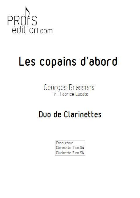 Les copains d'abord - Duo de Clarinettes - BRASSENS G. - page de garde
