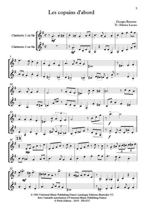 Les copains d'abord - Duo de Clarinettes - BRASSENS G. - Partition