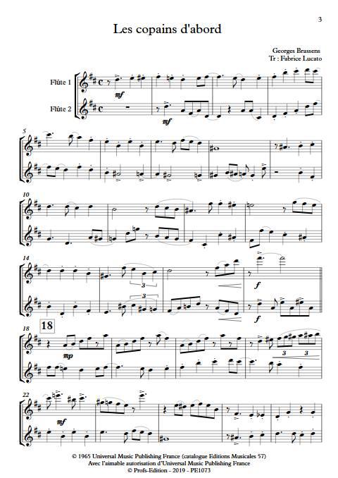 Les copains d'abord - Duo de Flûtes - BRASSENS G. - Partition
