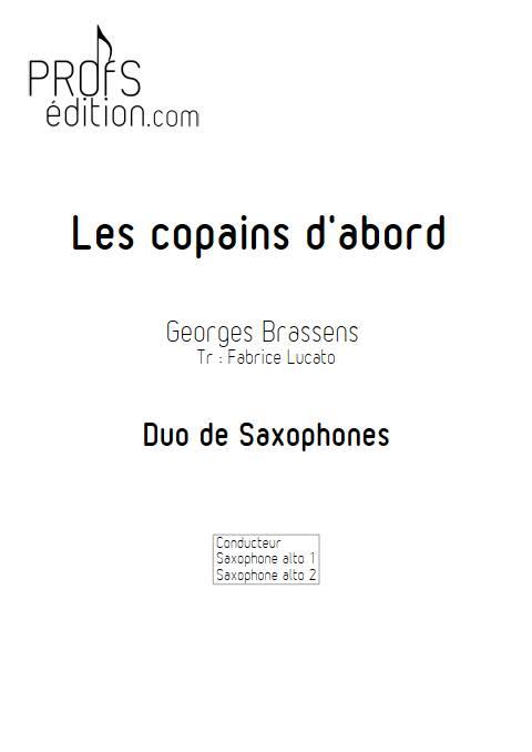Les copains d'abord - Duo de Saxophones - BRASSENS G. - page de garde