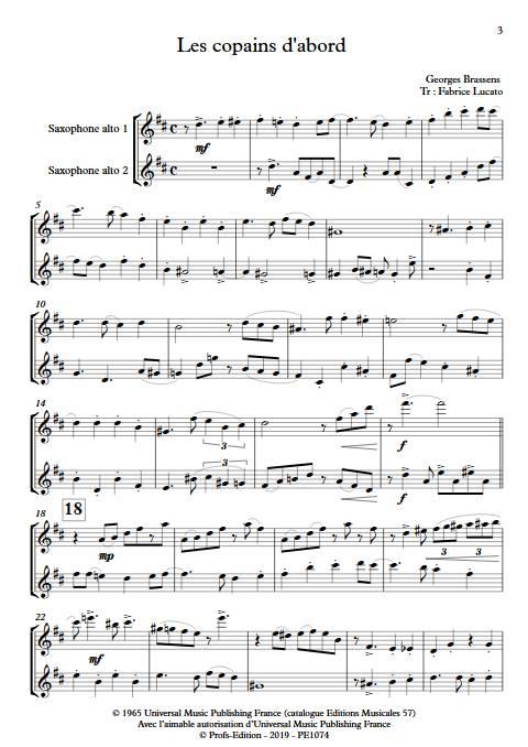 Les copains d'abord - Duo de Saxophones - BRASSENS G. - Partition