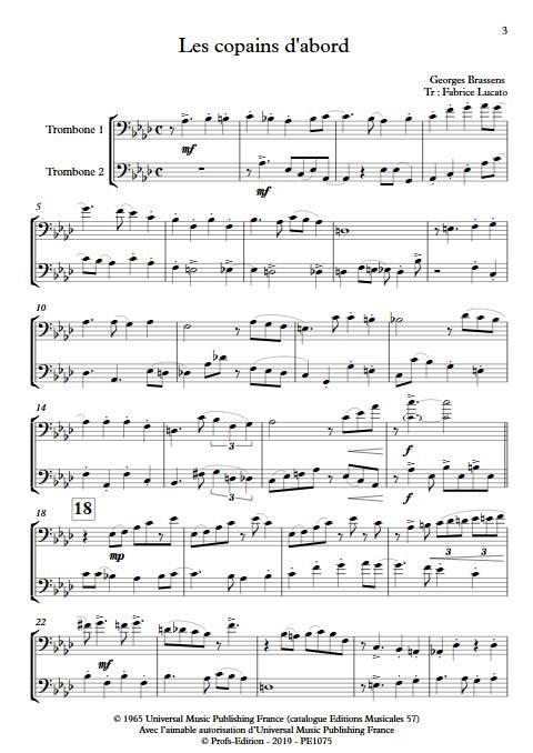 Les copains d'abord - Duo de Trombones - BRASSENS G. - Partition