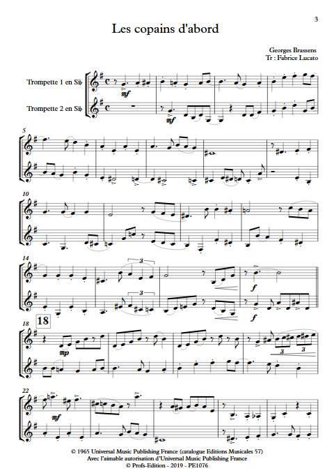 Les copains d'abord - Duo de Trompette - BRASSENS G. - Partition