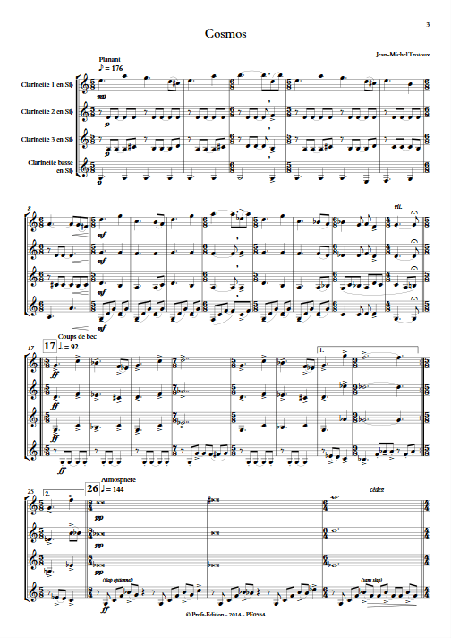 Cosmos - Quatuor de Clarinettes - TROTOUX J-M - app.scorescoreTitle