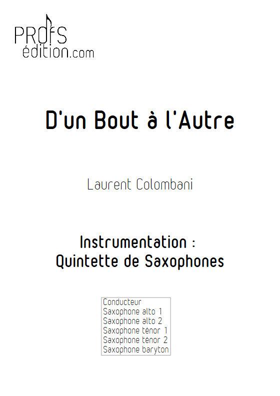 D'un bout à l'autre - Quintette de Saxophones - COLOMBANI L. - page de garde