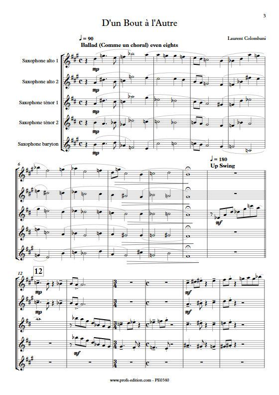 D'un bout à l'autre - Quintette de Saxophones - COLOMBANI L. - Partition