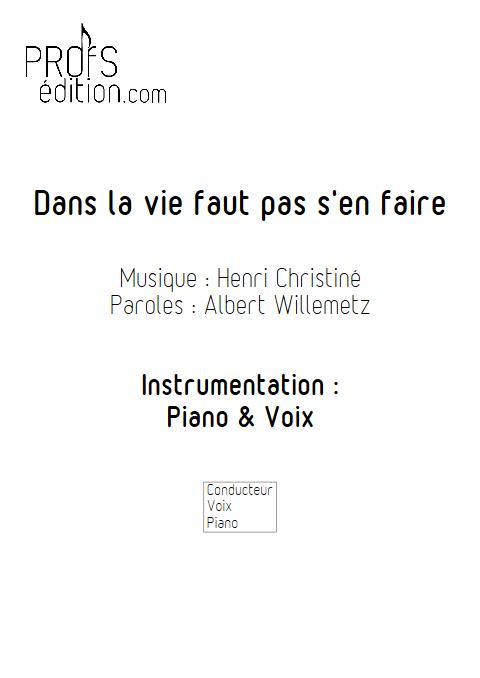 Dans la vie faut pas s'en faire - Piano & Voix - CHRISTINE H. - page de garde