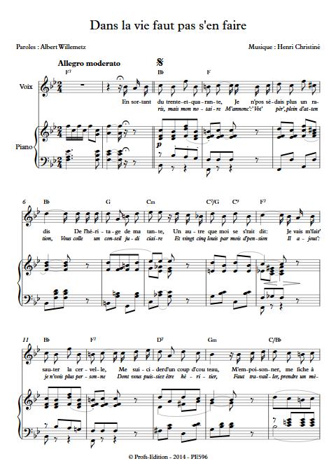 Dans la vie faut pas s'en faire - Piano & Voix - CHRISTINE H. - Fiche Pédagogique