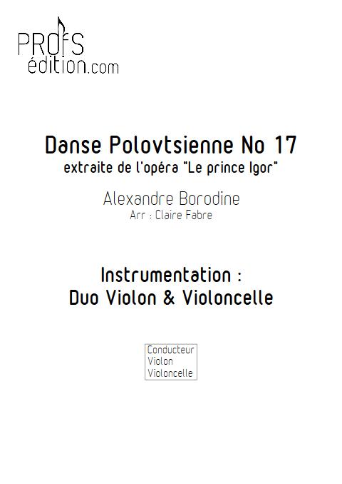 Danse Polovtsienne - Duo Violon et Violoncelle - BORODINE A. - page de garde