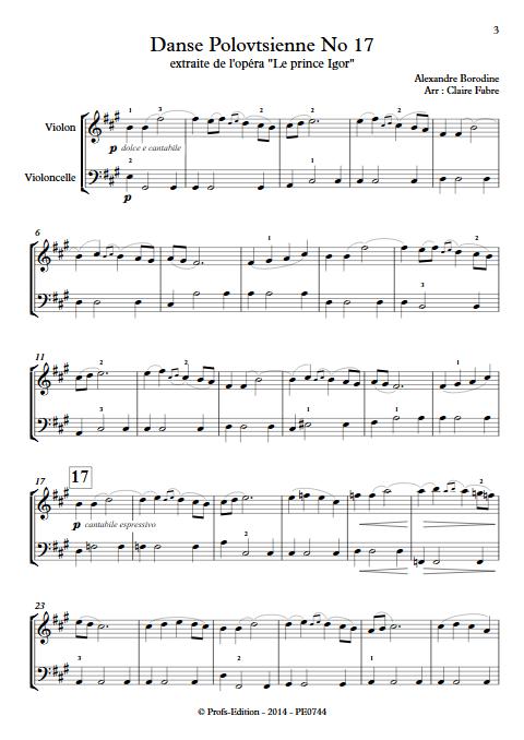 Danse Polovtsienne - Duo Violon et Violoncelle - BORODINE A. - Partition