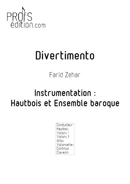 Divertimento - Hautbois & Ensemble Baroque - ZEHAR F. - page de garde