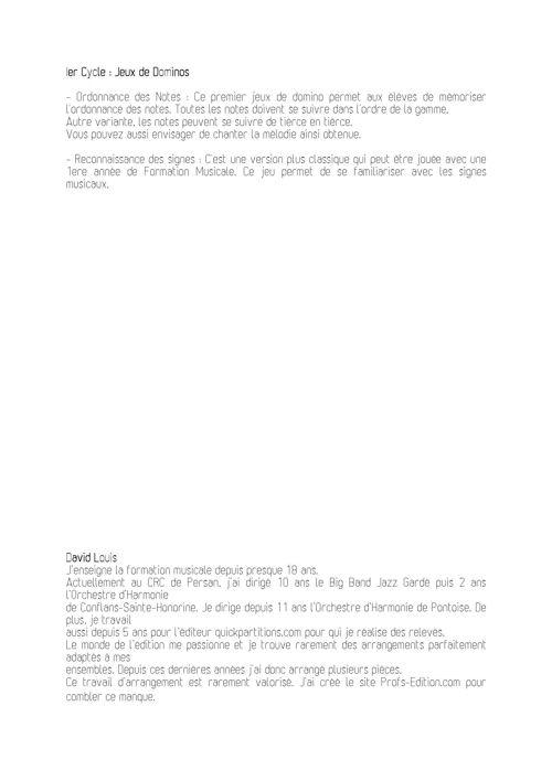 2 jeux de Dominos - Formation Musicale - LOUIS D. - Fiche Pédagogique