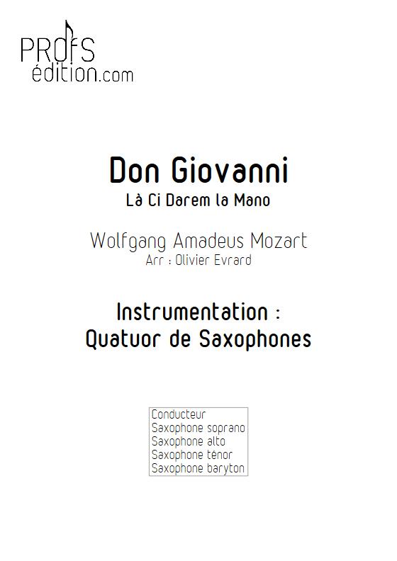 La Ci darem La Mano (Don Giovanni) - Quatuor de Saxophones - MOZART W. A. - page de garde