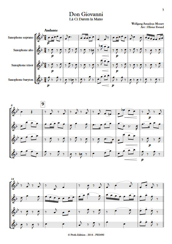 La Ci darem La Mano (Don Giovanni) - Quatuor de Saxophones - MOZART W. A. - Partition