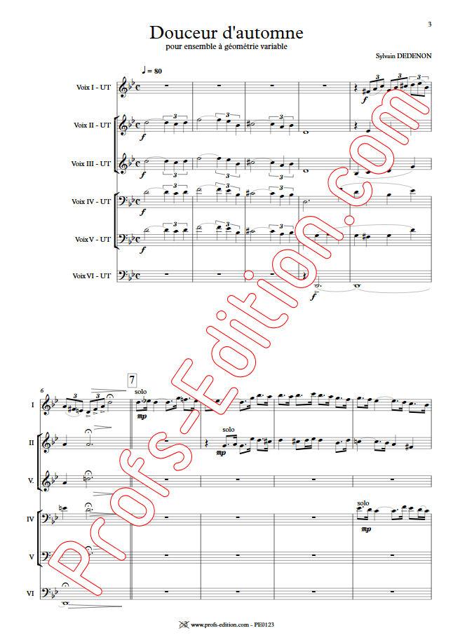 Douceur d'Automne - Ensemble Géométrie Variable - DEDENON S. - Partition