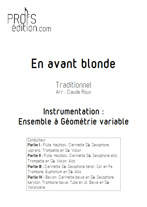 En Avant Blonde - Ensemble à Géométrie Variable - TRADITIONNEL - page de garde
