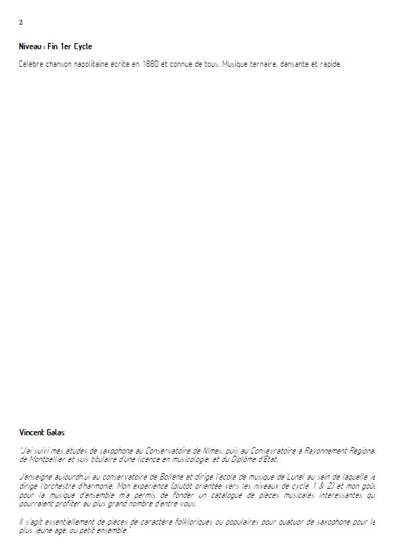 Funiculi funicula - Ensemble de Saxophones - DENZA L. - Fiche Pédagogique