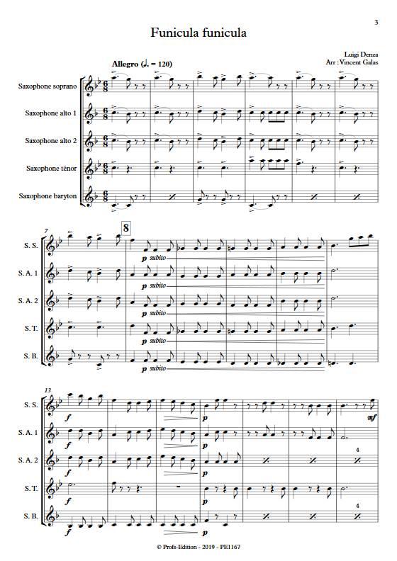 Funiculi funicula - Ensemble de Saxophones - DENZA L. - Partition
