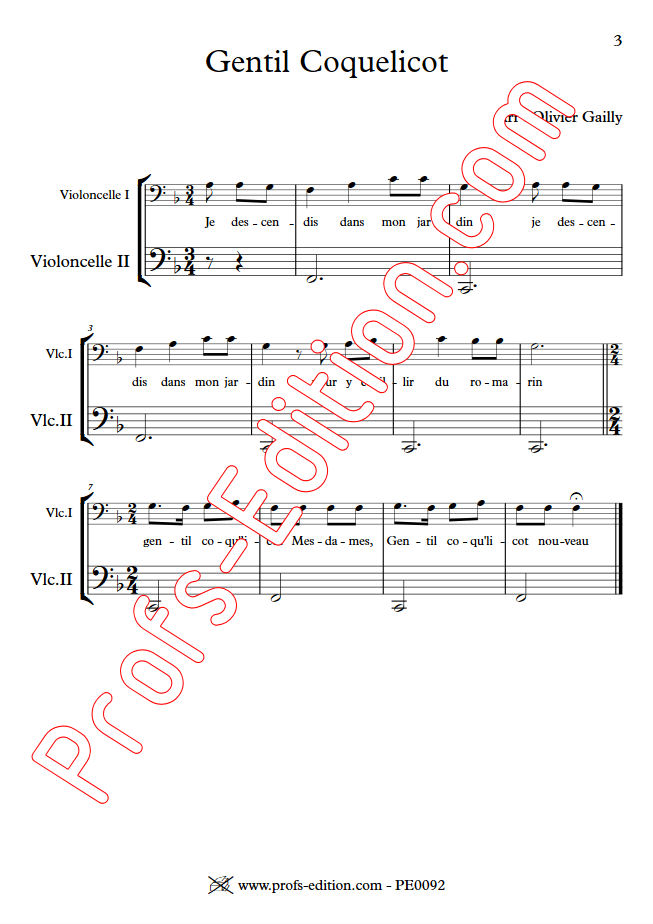 Gentil Coquelicot - Duo Violoncelles - TRADITIONNEL - Partition
