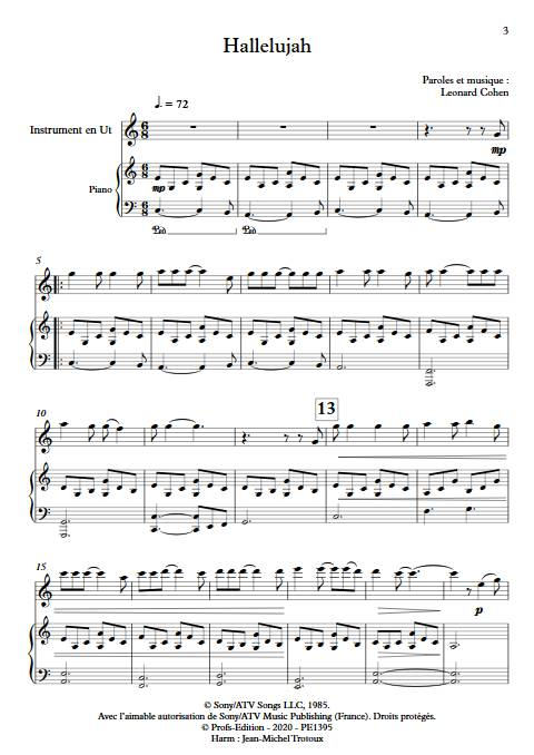 Hallelujah - Instrument & Piano - COHEN L. - app.scorescoreTitle