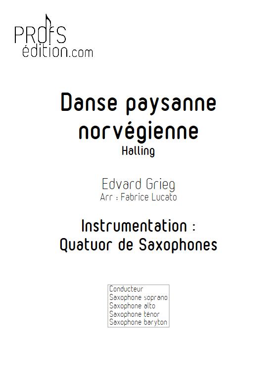 Danse paysanne norvégienne - Quatuor de Saxophones - GRIEG E. - page de garde