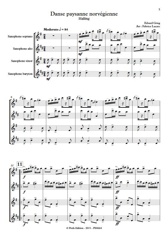 Danse paysanne norvégienne - Quatuor de Saxophones - GRIEG E. - Partition