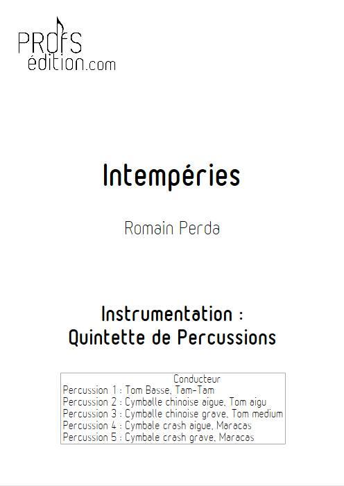 Intempéries - Quintette Percussions - PERDA R. - page de garde