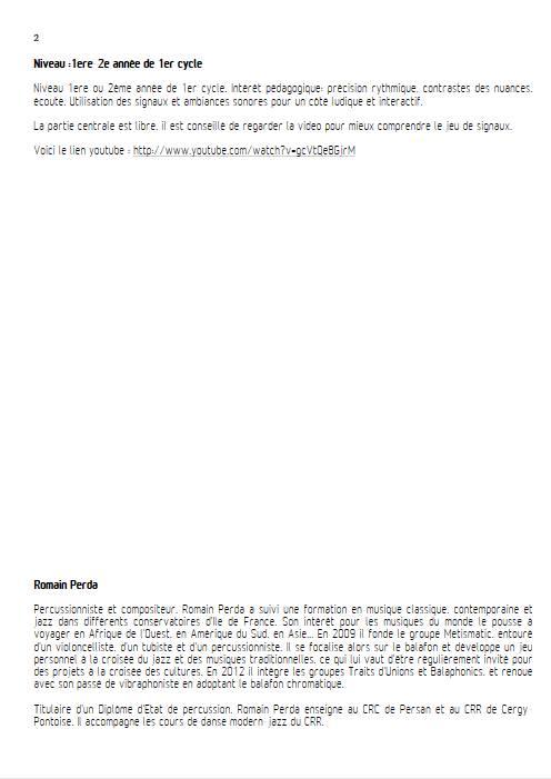 Intempéries - Quintette Percussions - PERDA R. - Fiche Pédagogique