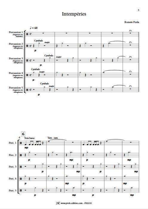Intempéries - Quintette Percussions - PERDA R. - app.scorescoreTitle