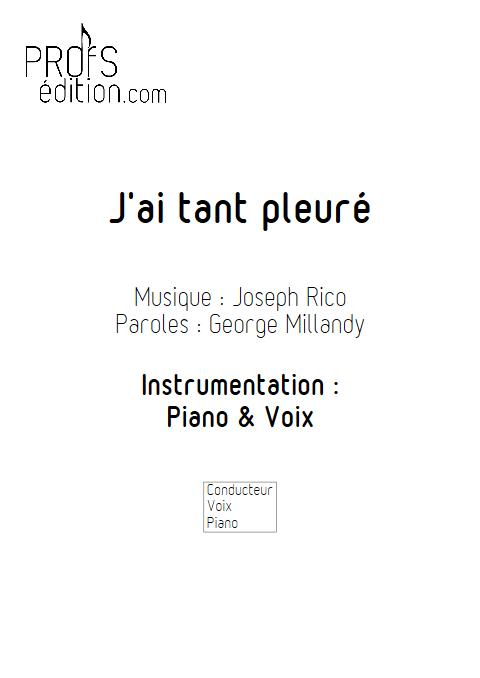 J'ai tant pleuré - Piano & Voix - RICO J. - page de garde