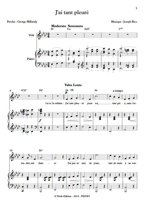 J'ai tant pleuré - Piano & Voix - RICO J. - Partition
