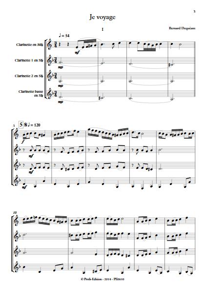 Je voyage - Quatuor de Clarinettes - DEQUEANT B. - Partition
