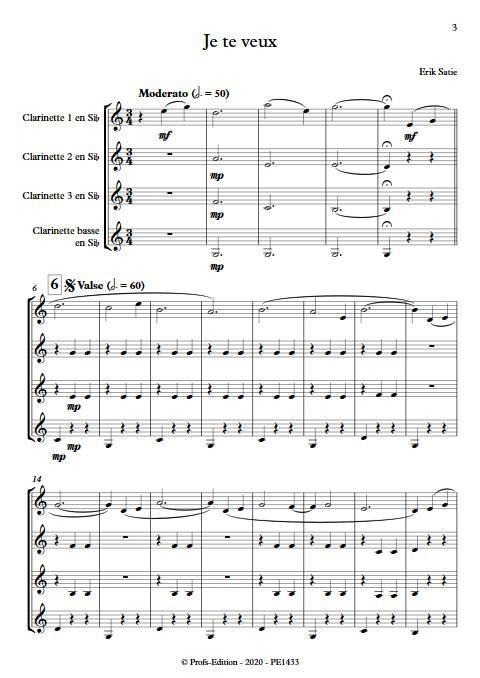 Je te veux - Quatuor de Clarinettes - SATIE E. - app.scorescoreTitle