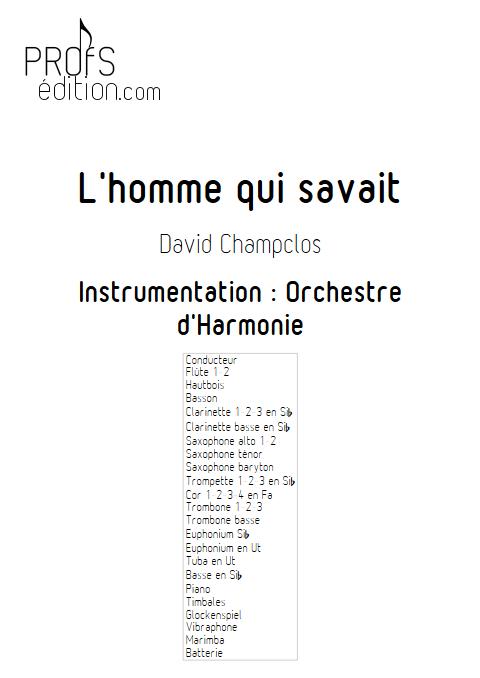 L'Homme qui savait - Orchestre d'Harmonie - CHAMPCLOS D. - page de garde