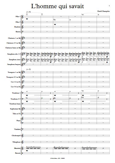 L'Homme qui savait - Orchestre d'Harmonie - CHAMPCLOS D. - app.scorescoreTitle