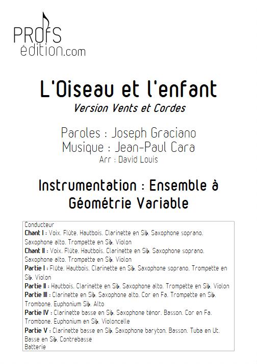 L'Oiseau et l'enfant -Ensemble à Géométrie Variable - CARA J.P. - page de garde