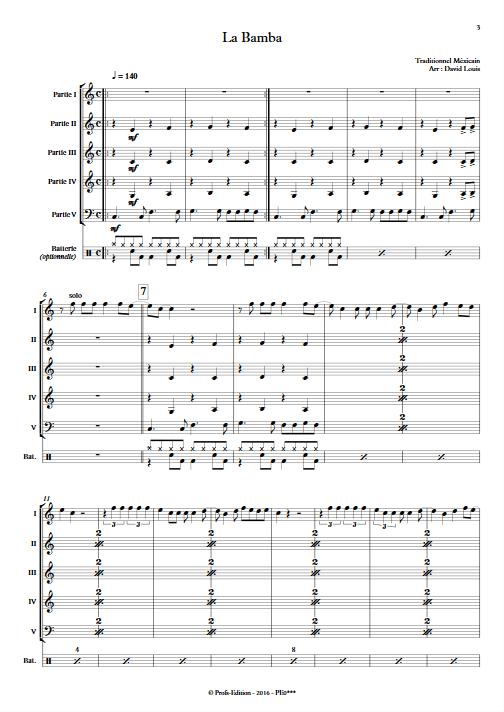La Bamba - Ensemble à Géométrie Variable - TRAD. MEXICAIN - Partition