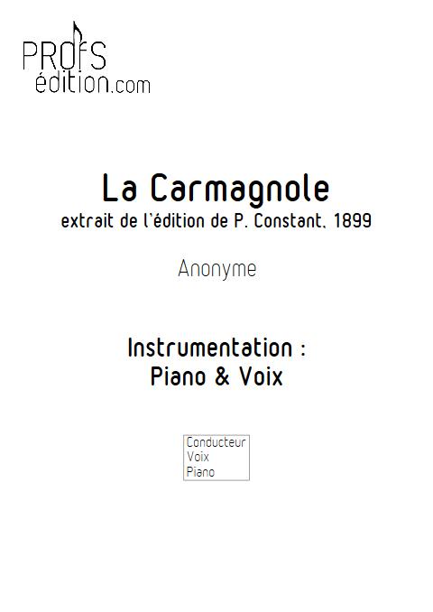 La Carmagnole - Piano & Voix - ANONYME - page de garde