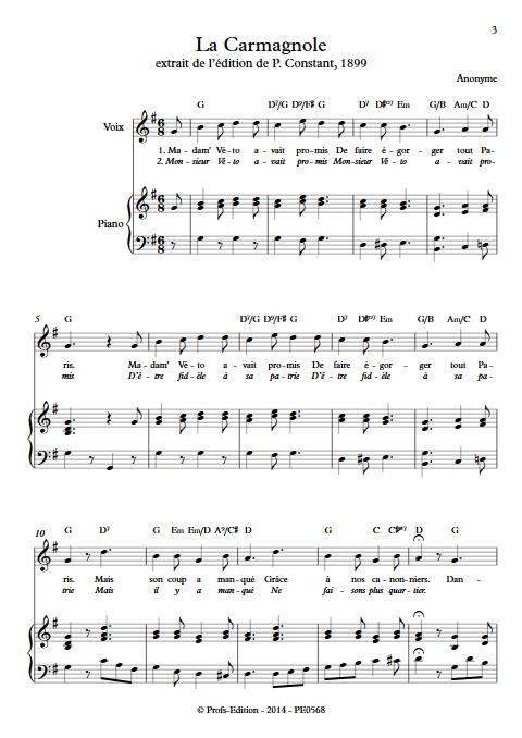 La Carmagnole - Piano & Voix - ANONYME - Partition