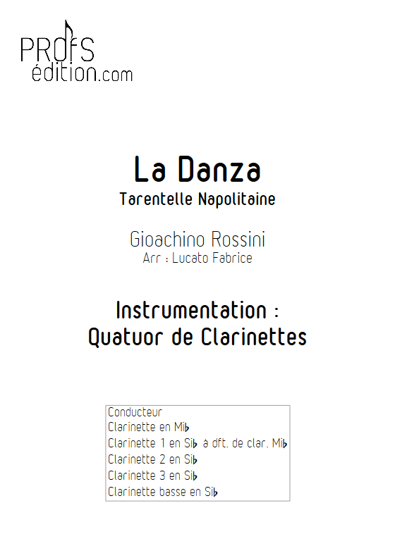 La Danza - Tarentelle - Quatuor de Clarinettes - ROSSINI G. - page de garde