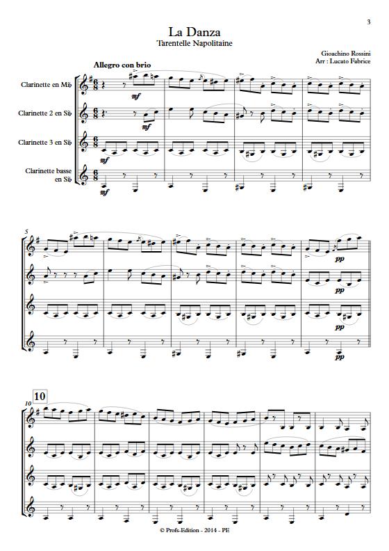 La Danza - Tarentelle - Quatuor de Clarinettes - ROSSINI G. - app.scorescoreTitle