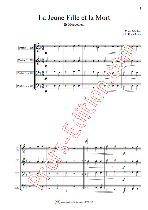 La jeune fille et la Mort - Ensemble Géométrie Variable - SCHUBERT F. - Partition