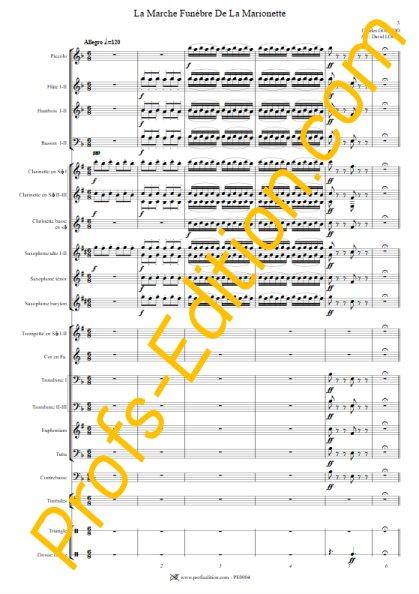La marche funèbre de la Marionette - Orchestre Harmonie - GOUNOD C. - page de garde