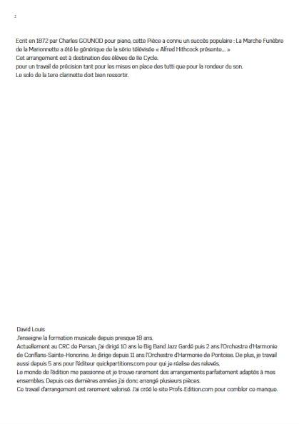La marche funèbre de la Marionette - Orchestre Harmonie - GOUNOD C. - Partition