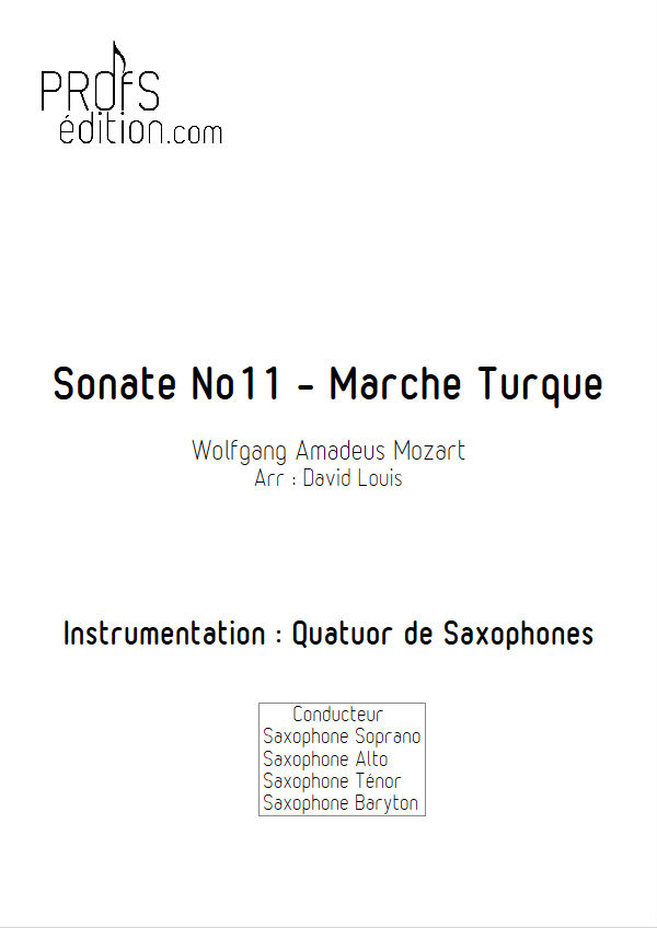 Marche Turque - Quatuor Saxophones - MOZART W. A. - page de garde
