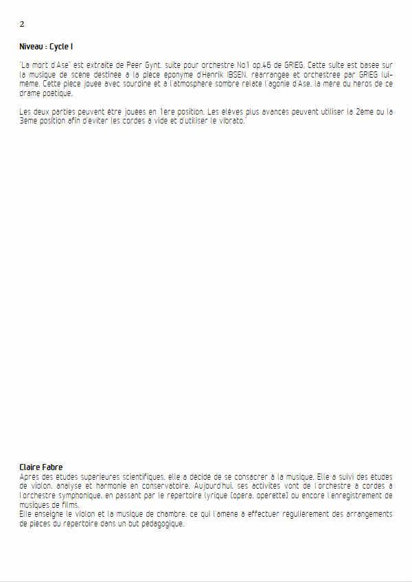 La Mort d'Ase (Peer Gynt) - Duo Cordes - GRIEG E. - Fiche Pédagogique