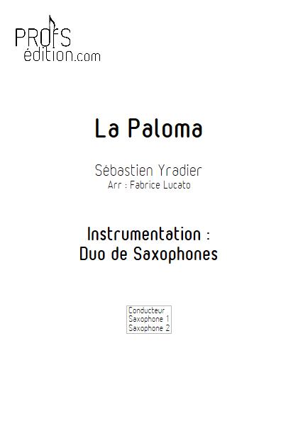 La Paloma - Duo de Saxophones - IRADIER S. - page de garde