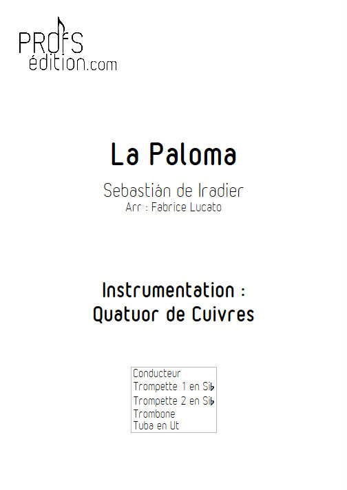 La Paloma - Quatuor de Cuivres - IRADIER S. - page de garde