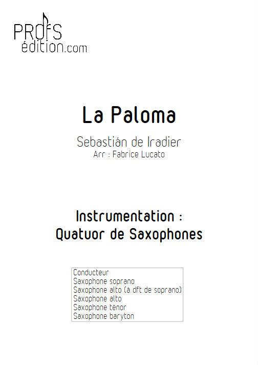 La Paloma - Quatuor de Saxophones - IRADIER S. - page de garde