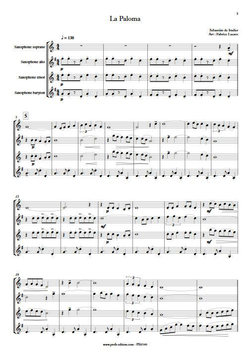 La Paloma - Quatuor de Saxophones - IRADIER S. - app.scorescoreTitle